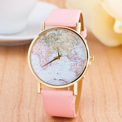 woman wrist watch,World map casual ..