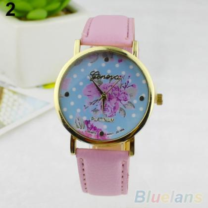 Fashion Rose Flower Dots Faux Leath..