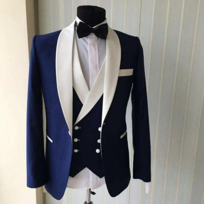 Custom Made Groomsmen Shawl White L..