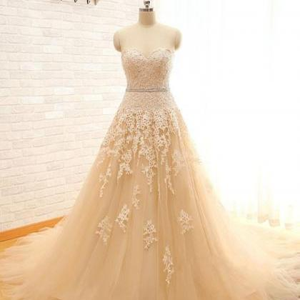 Champagne Floor Length Lace Tulle A..