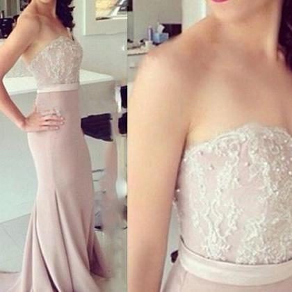 Lace Prom Dresses,Pink Evening Dres..
