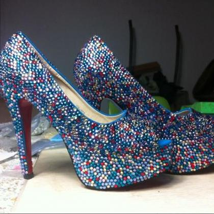 Luxury Bridal Shoes colorful crysta..