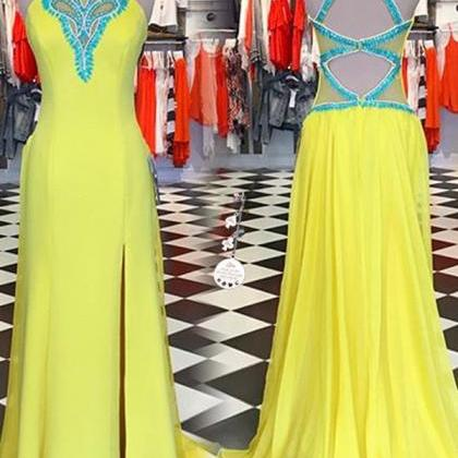 Yellow Sleeves Long Prom Dresses,Be..