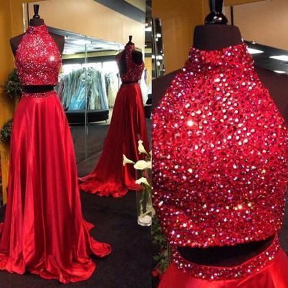 Red Prom Dresses,2 Piece Prom Gown,..