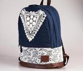 Blue Canvas Lace Bac..