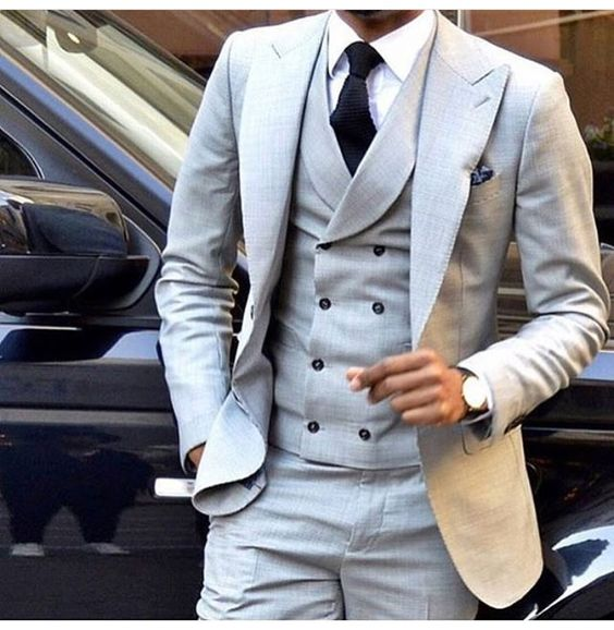7b28bffe8c51 Striped suit,Latest Coat Pant Designs Light Grey Men Suit Double Breasted  Slim Fit Skinny 3 Piece Tuxedo Groom Custom Blazer Terno Masculino