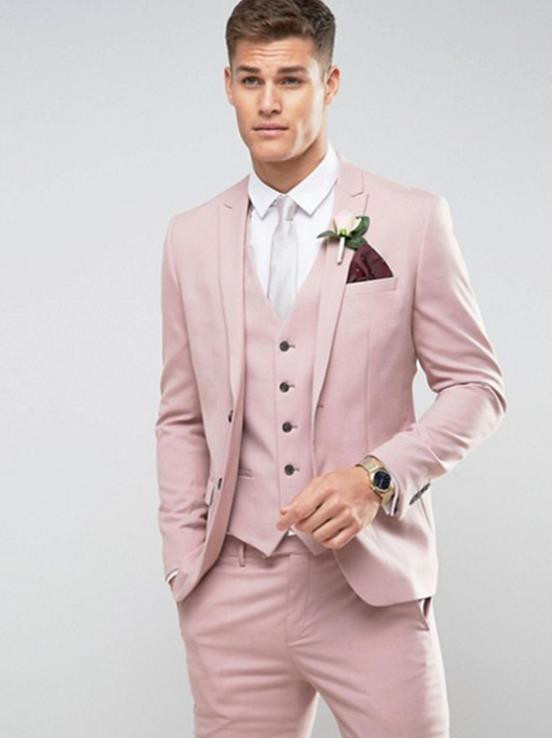 Striped suit,Tailor Made Light Pink Men Suit Slim Fit Groom Prom Party  Blazer Costume Marriage Homme Male Tuxedo 3pcs(Jacket+Pants+Vest) cbd8ee7f2940