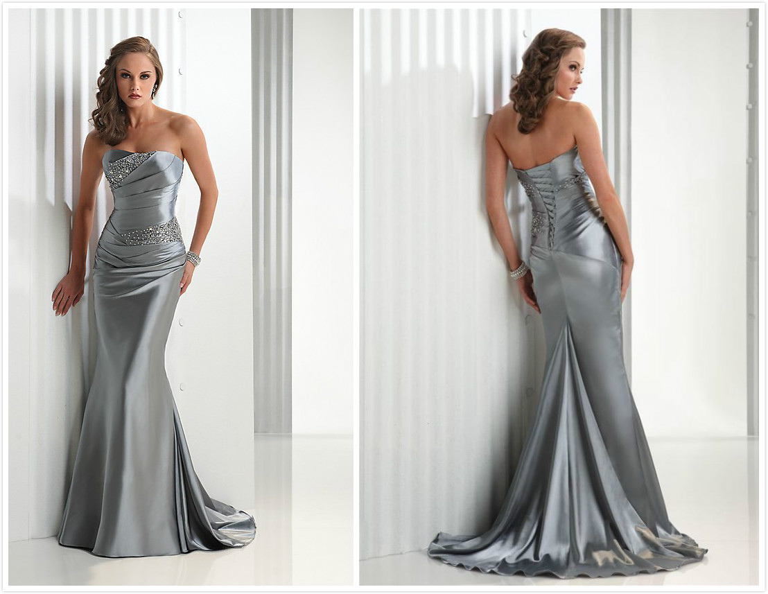 Bridesmaids Dress,evening Dress,silver Evening Dress,lace Up Back ...