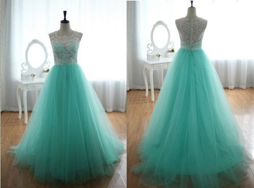 2015 Real Sample Floor Length Long Girl Party Prom Dresses Graduation Dresses Green And White Lace Tulle quinceanera dresses