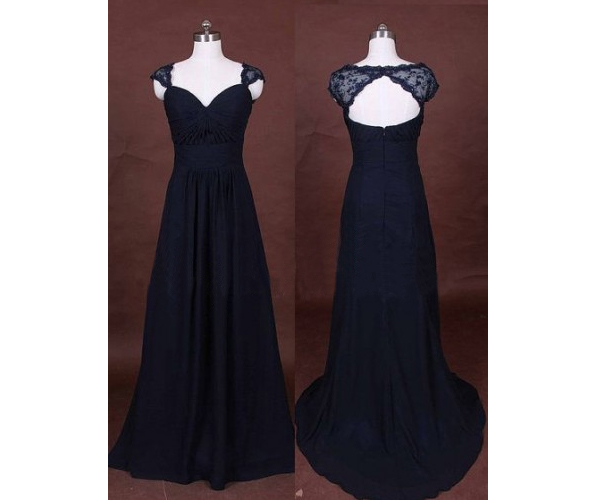 A Line Lace Bridesmaid Dress Long Gown Navy Blue Gowns Simple Dresses Chiffon Vintage Brides Dark