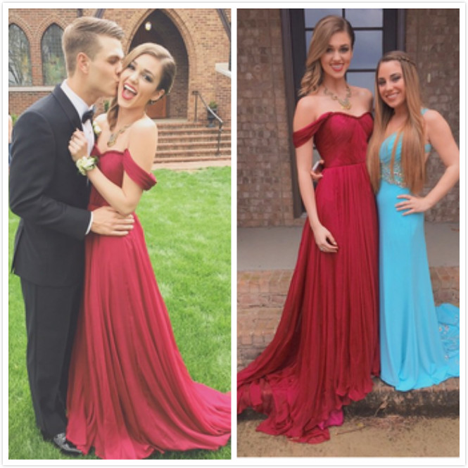 Custom Made Off Shoulder Dark Red Long Prom Dresses 56149577b