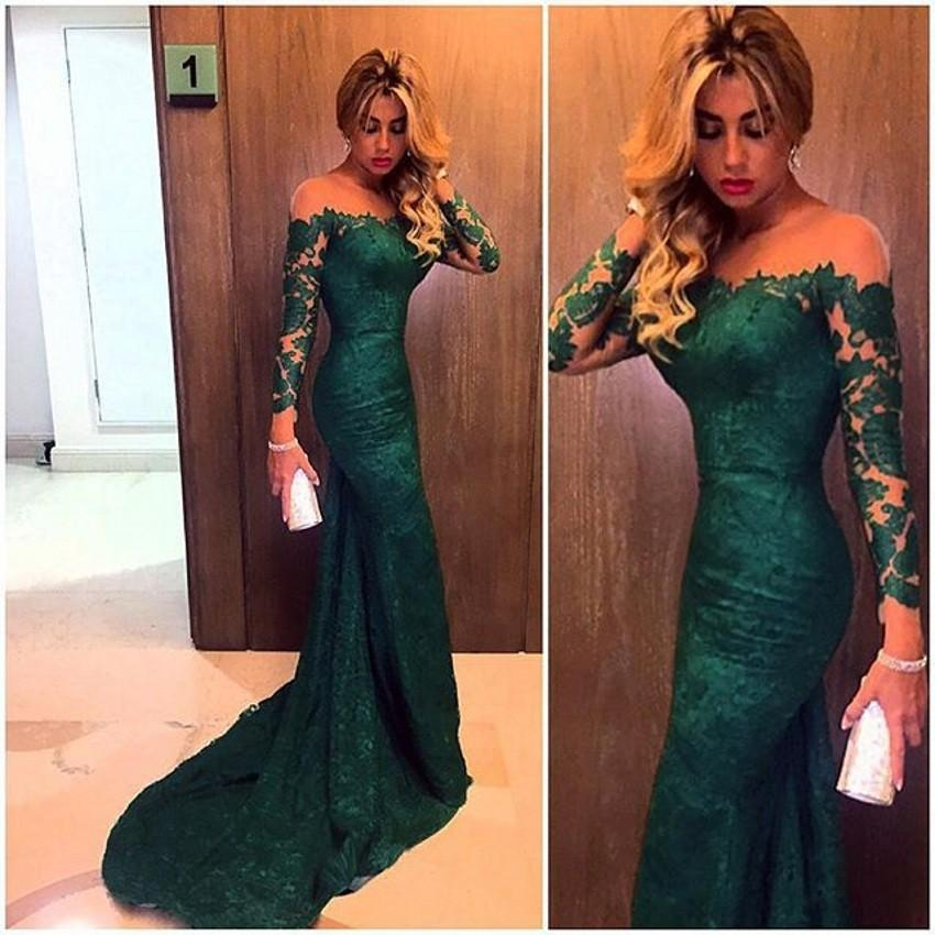 9e4453d209f Emerald Green Lace Mermaid Prom Dress Long Sleeve Off The Shoulder Cocktail  Evening Dress Sexy See Through Party Dress Long Mermaid Party Dress Train  ...