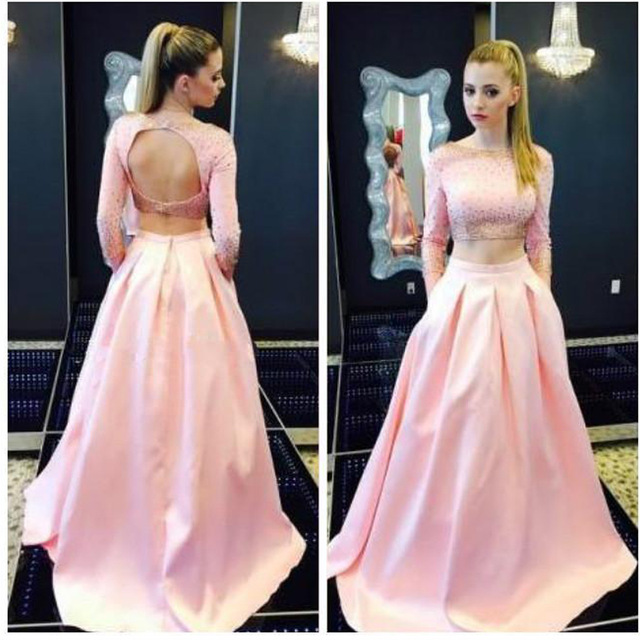 Pink Prom Dress, 2 Piece Prom Dress, Backless Evening Dresses ,Sexy ...