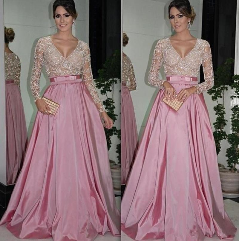 210e4a0eaeb New Arrival 2016 Customize Pink V-Neck Satin Prom Dress Long Sleeve Evening  dress Formal Dress A-Line Evening Gown Long Party dress Luxury Sequin Prom  Gown