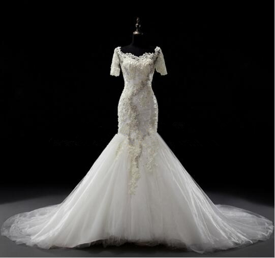 2017LACE Mermaid Off Shoulder Real Photos Wedding Dress Sweep Train Half Sleeves Luxury Tulle Bridal Gown With Pearls And BeadingsHalf sleeve wedding dress and the tail wedding dress Fishtail wedding dress, sexy wedding dress
