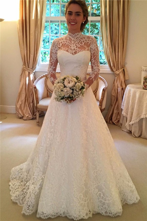 High Neck Wedding Dresses ,Long Wedding Dress,2016 Wedding Dress ...