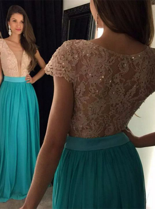 d66306f8715f Charming Prom Dress,A-line Cap Sleeve Lace Bodice Chiffon Skirt Prom Dresses  Sexy Evening Dress, Lace Prom Dress, Spaghetti Straps Formal Dress, ...