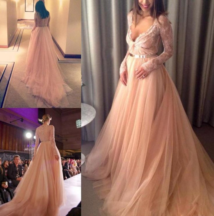 Prom Dresssexy Prom Dressessexy 2017 V Neck Beautiful Tulle Long Sleeve Lace Long Evening Dress