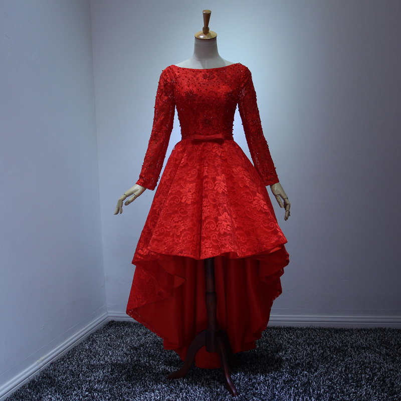 Hot Fashion Red Party Dresses Scoop Long Sleeve Lace Up High Low Tail Prom Evening Gowns Gown Beautiful Dress Backless
