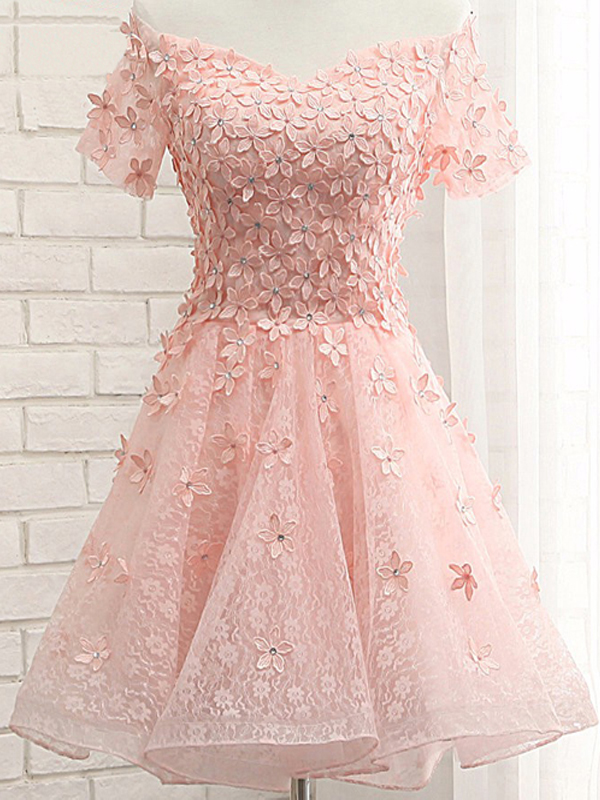 32d196b11c85 Pink Off The Shoulder Short Sleeve Floral Lace Homecoming Dress With Floral  Appliqués and Lace-Up Back Detailing
