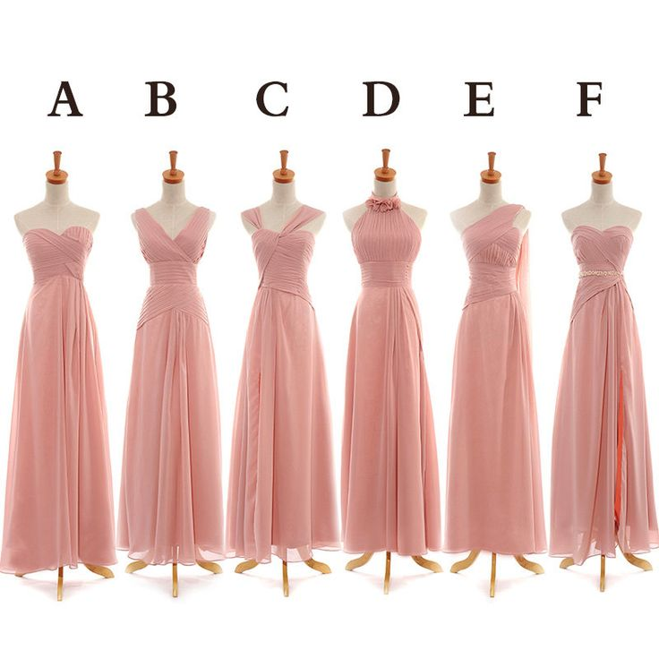 Long Bridesmaid Dress, Long Pink Chiffon Bridesmaid Dressmismatched ...