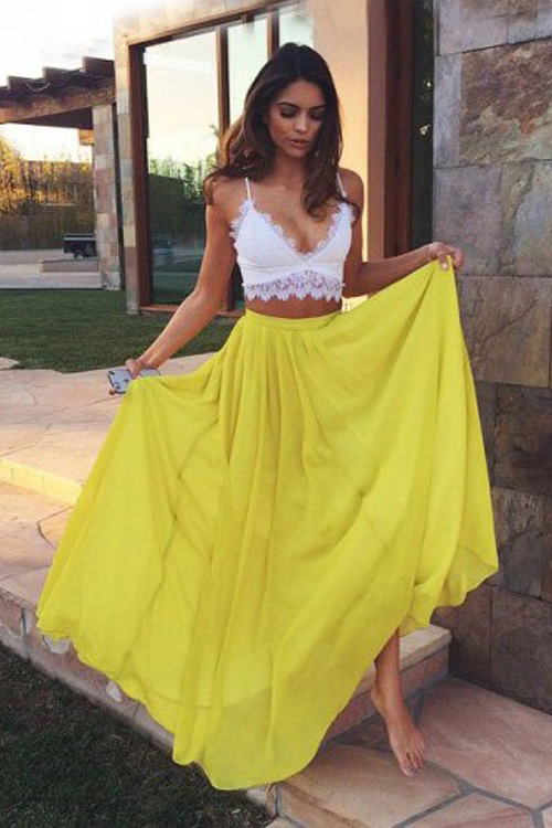 cec521517e099 Two Piece Prom Dress,Yellow Prom Dresses,Long Evening Dress Floor Length  Chiffon A-Line Prom Dress Featuring Floral Lace and Ruched Plunge V Bodice