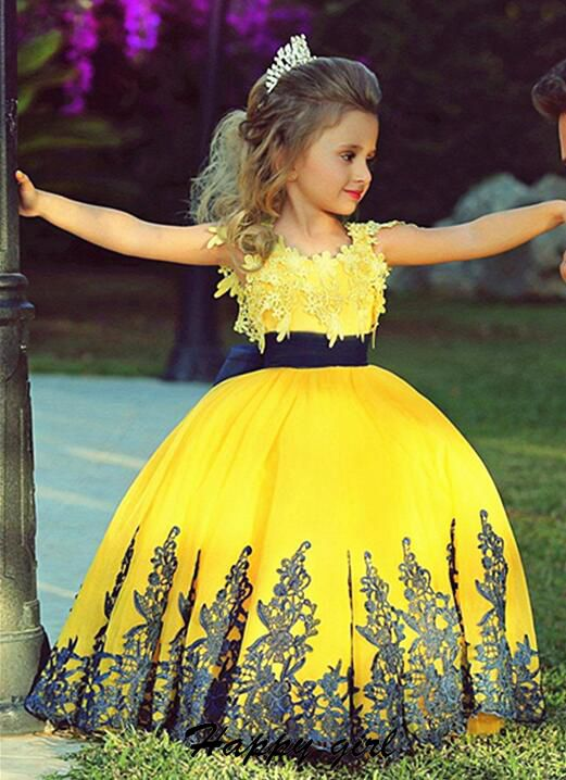 Flower girl dress little flower girl dress princess flower girl flower girl dress little flower girl dress princess flower girl dress yellow ball gown girls pageant dress cute flower girl dress with black lace mightylinksfo