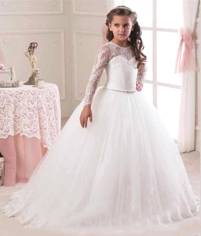 c23e29a54a4 Hot Sale 2016 Long Sleeve Flower Girl Dresses for Weddings Lace First  Communion Dresses for Girls Pageant Dresses White Ivory.White flower girl  dresses.