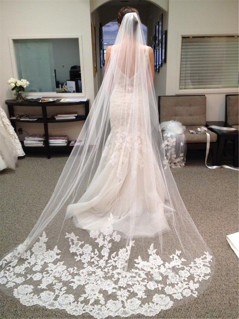 Fl Lace Trimmed Long Tulle Cathedral Wedding Veil With Comb In White Or Ivory