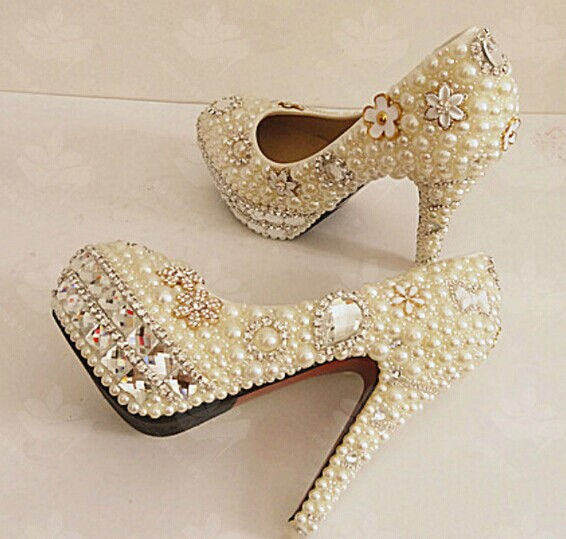 Pearl Wedding Shoes Bridal Shoes Bridal Women Peep Toe Shoes Lady Evening Party