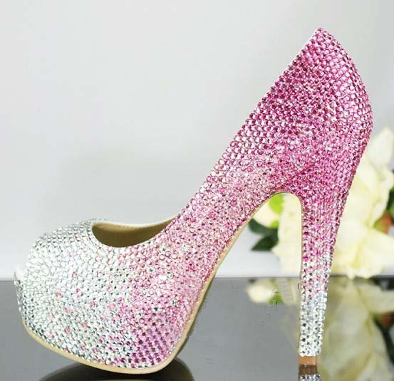 37ed7bb01b9f Handmade Crystal Rhinestone Bride Shoes Wedding Pumps Women pink white High  Heels Women s Bridal Dress Shoes Prom Heels Bridal Shoes