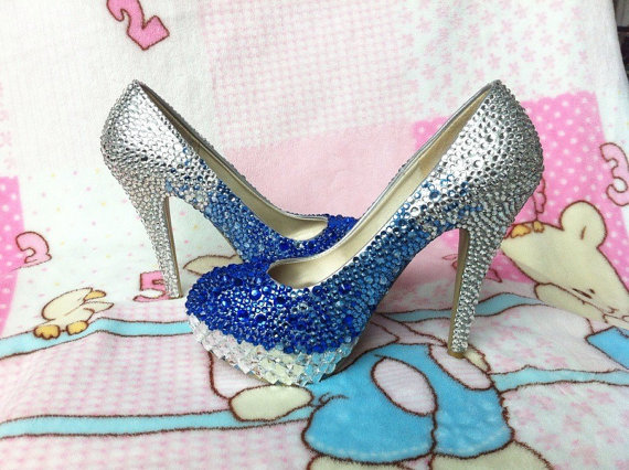 64c039ec1b8509 Handmade Rhinestone Royal Blue Silver Gradient Color Wedding Shoes Dress Shoes  Pumps bridal bling heel