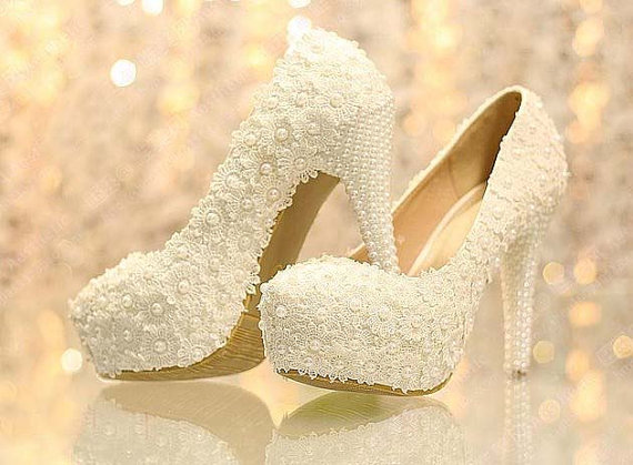 Wedding Dress Shoes.New Arrival White Lace Wedding Dress Shoes High Heels Bridal Shoes With Pearls Party Prom Shoes Ladies Wedding Shoe Bridal Shoes Bridal Women Peep
