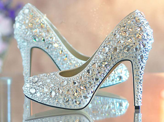 d36e0f11b8df Nice Blue crystal lady s formal shoes Jeweled Beaded High Heel Bridal  Evening Prom Party Wedding Dress