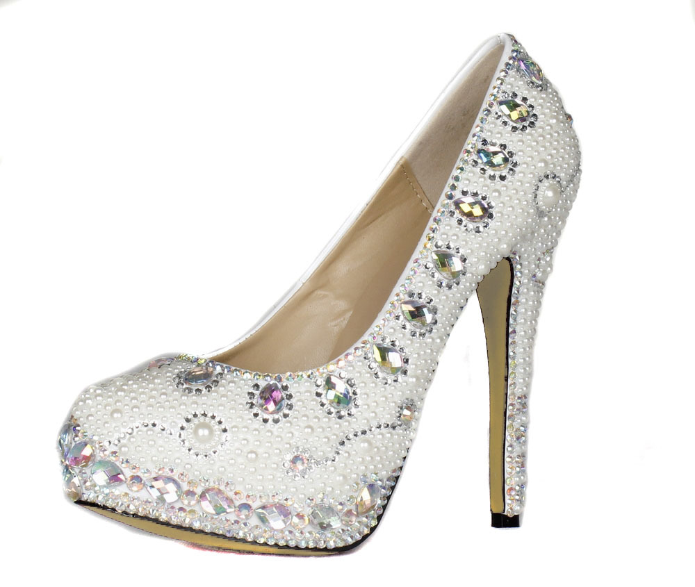 956cf95ce025 White Pearl Wedding Shoes