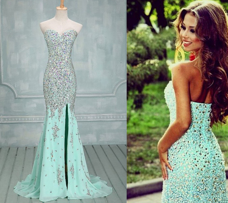 Evening Dresses,Gorgeous Prom Gown,Front Slit Prom Gown,Beaded Prom ...