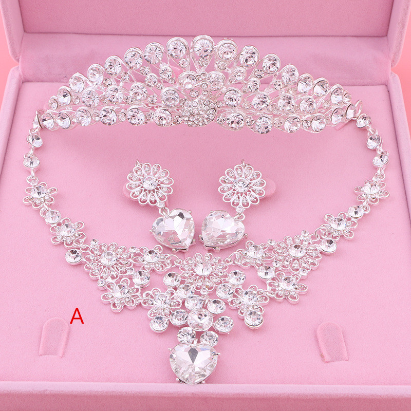 Wedding Jewelry Wedding Three Piece Earrings Necklaces Crown