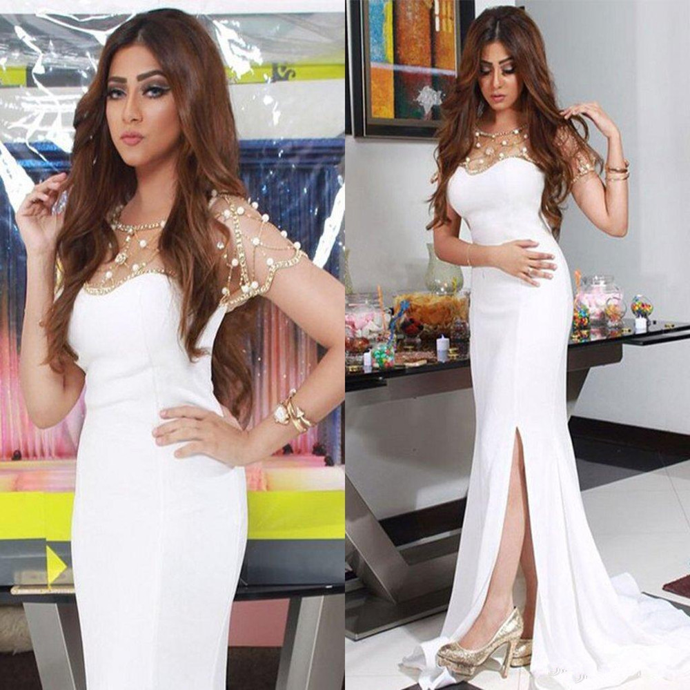 Prom GownSplit Gorgeous Beadings White Mermaid Chiffon Evening Dress Prom Dresses