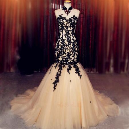 2016 Sexy Tulle mermaid Wedding Dress With Black Appliques Long Dress For Wedding Party Sweetheart