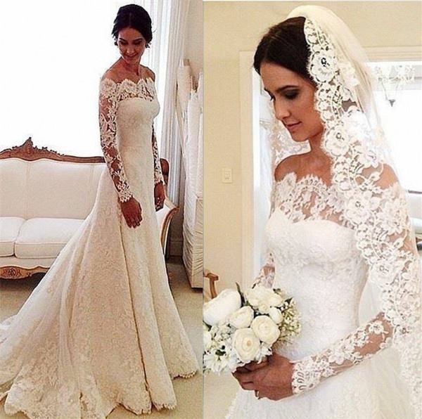 51fbc9ac205 White Off-the-shoulder Lace Long Sleeve Bridal Gowns