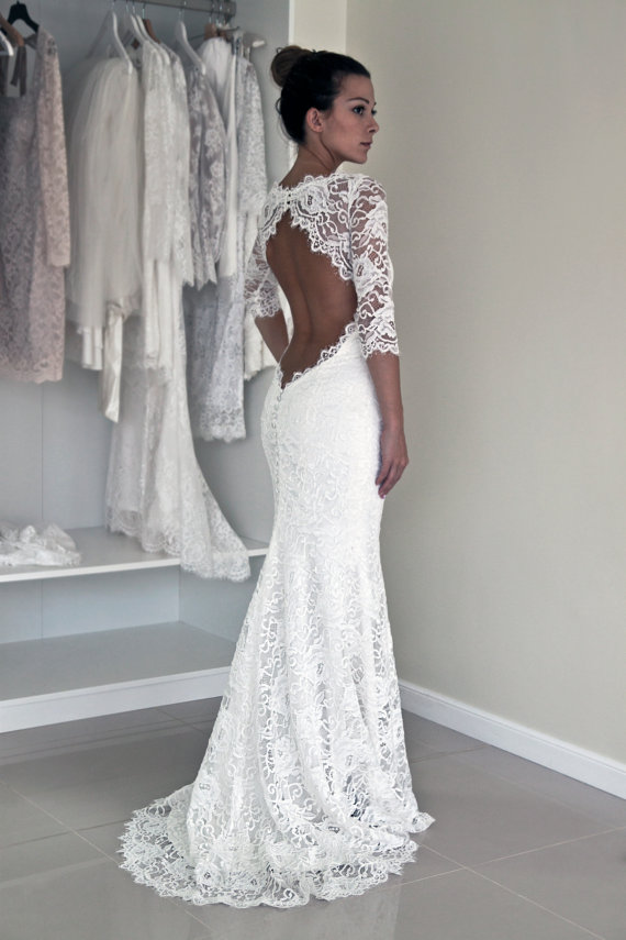 Keyhole Back Wedding Dress Trupet With Sleeves Corded French Lace Illusion Neckline Robe De Marriage