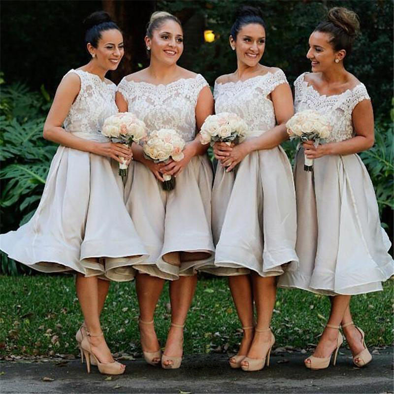 Bridesmaid Gown White Dresses Short Summer Gowns Beach Dress Lace Bodice