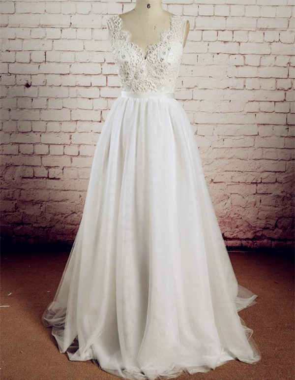 Wedding Dresses Lace Gownswhite Long Gown Gowns Tulle Bridal Dress With Backless White Brides