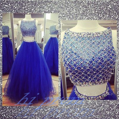 Royal Blue Prom Dresses 2 Piece Prom Gowns2 Pieces Prom Dresses