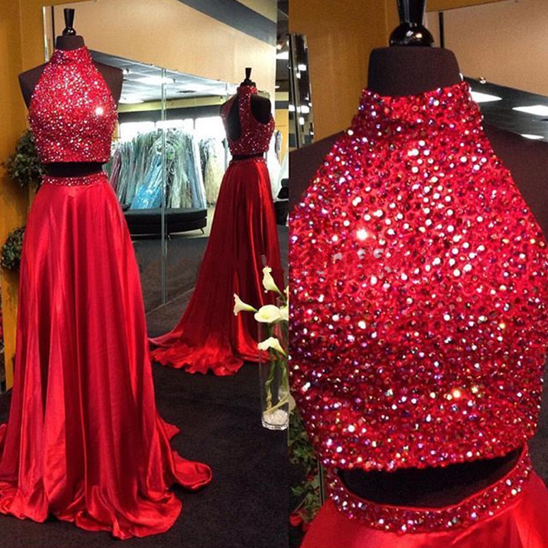 Red Prom Dresses,2 Piece Prom Gown,Two Piece Prom Dresses,Satin Prom Dresses,New Style Prom Gown,2016 Prom Dress,Backless Prom Gowns