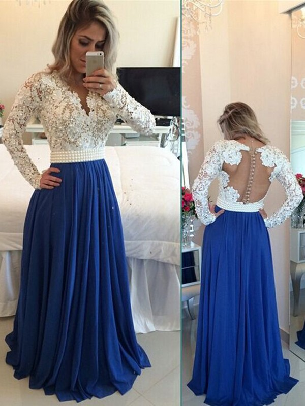 Modest Handmade Long Chiffon Royal Blue Beading Prom Dresses 4d6ec81eb3da