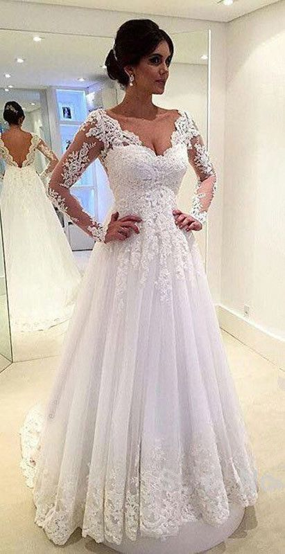 660e4c518a1a3 Lace Appliques Plunge V Long Mesh Sleeves Floor Length Tulle Wedding Gown  Featuring Train
