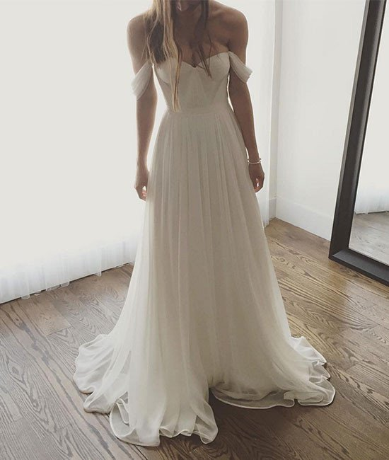 Long Sleeve White Lace Bodice Chiffon Skirt Elegant Simple: Ivory Chiffon Long Prom Dress, Off The Shoulder Formal