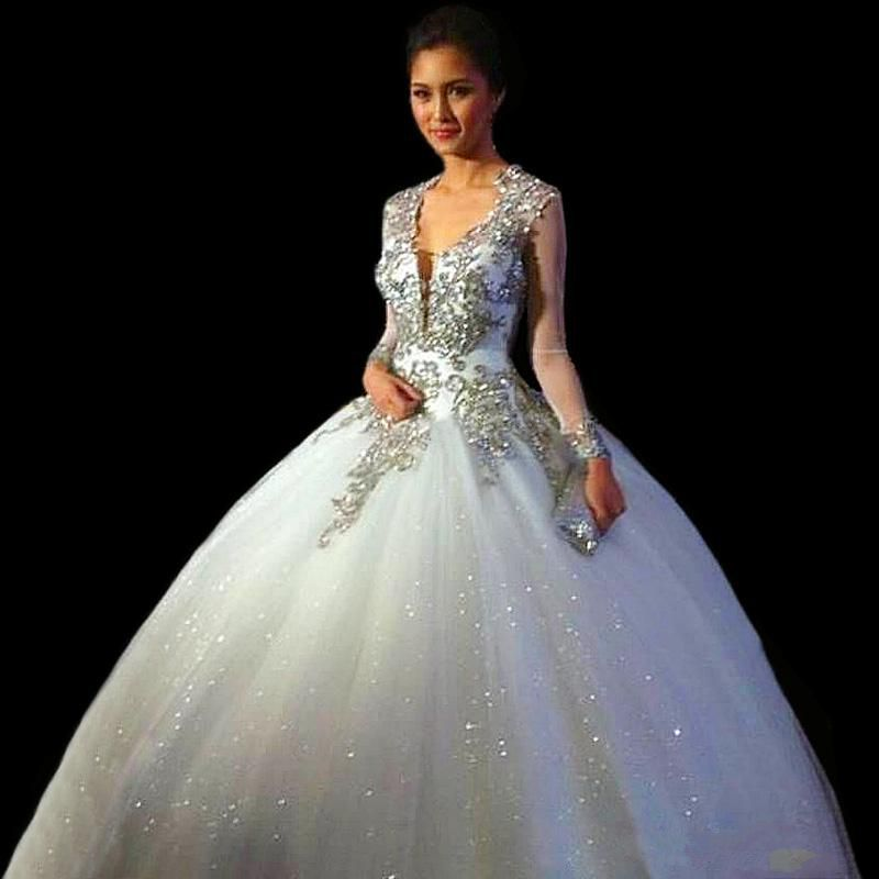 fb919c6a33e5 Vestidos De Quinceaneras 2016 New V Neck Quinceanera Dresses Sweet Ball  Gown Backless Tulle Long Sleeves Prom Dress Plus Size