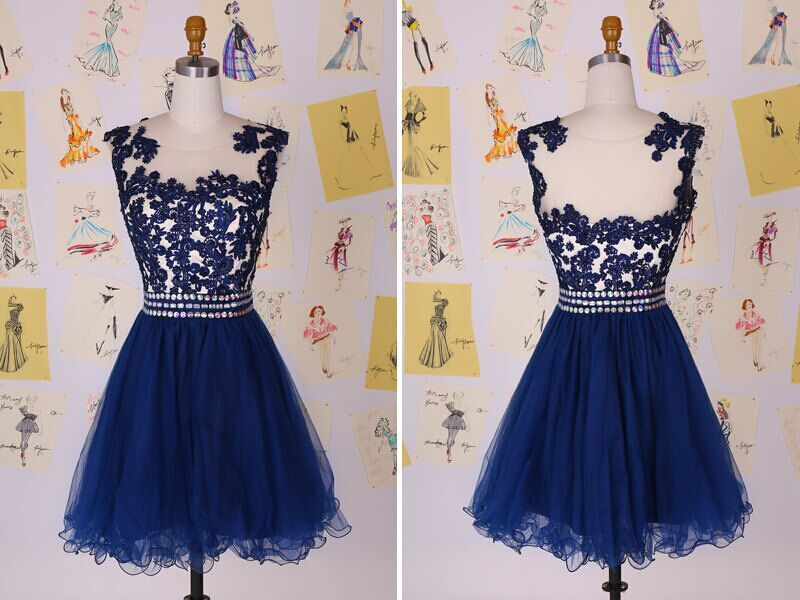 New short prom dresses special occasion dresses blue lace party